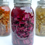 Fermented chard stems in mason jars