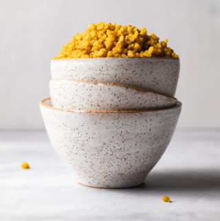 Fragrant Golden Rice in a serving bowl