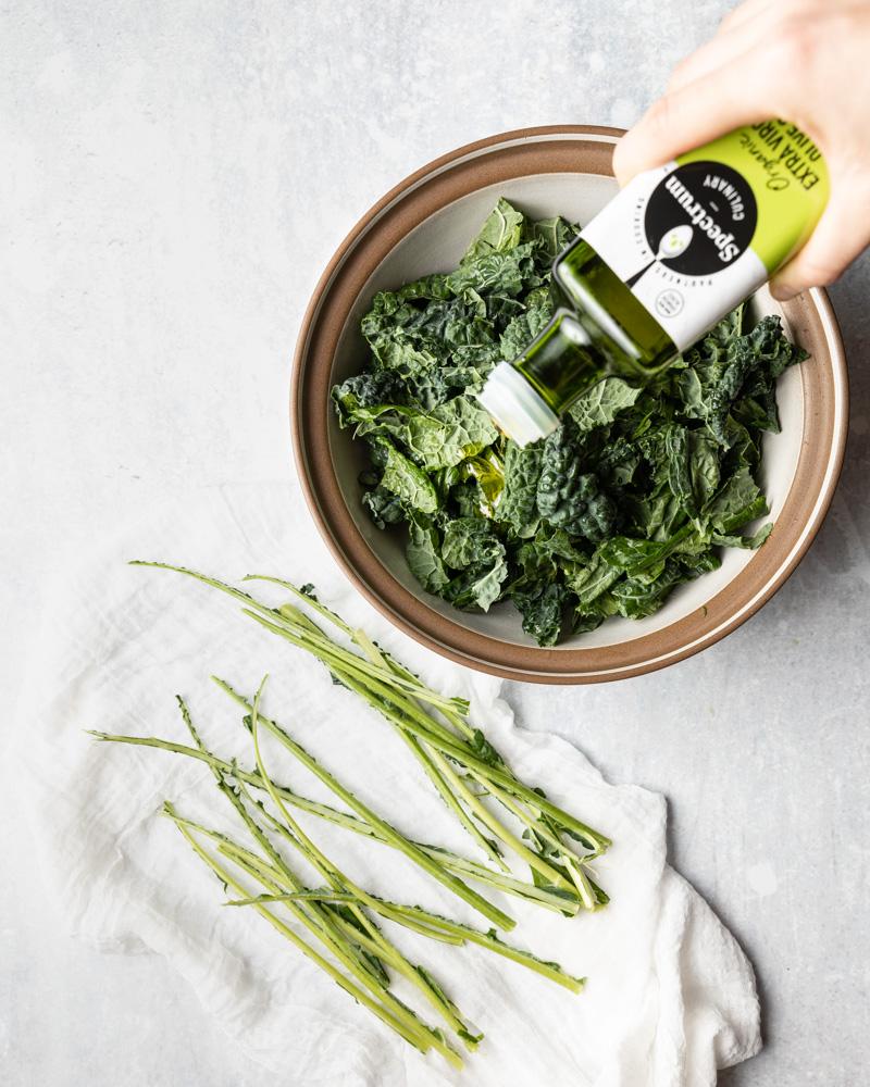 Preparing kale