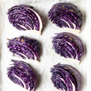 Roasted Red Cabbage wedges straight out of the oven.