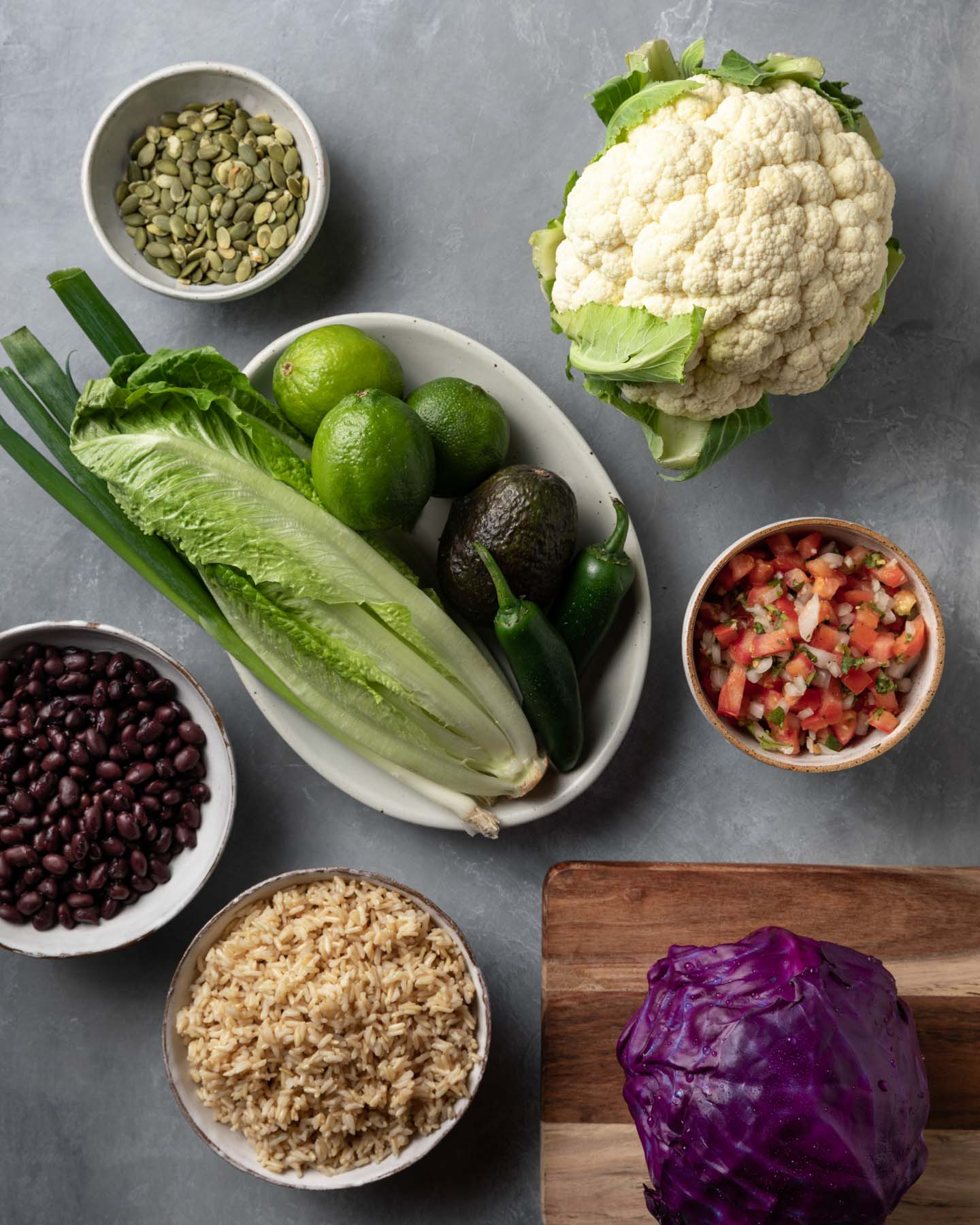 Ingredients for making a Vegan Mexican Bowl