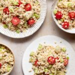 A closeup view of the finished Moroccan Couscous Salad
